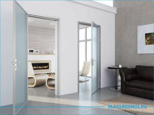 Две стеклянные двери на алюминиевым каркасом