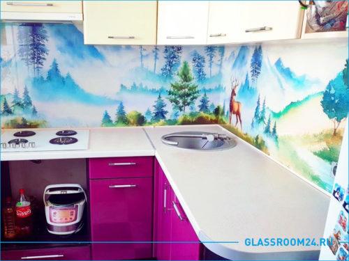 Рисунок лес на кухонном фартуке