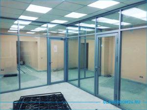 Перегородки в офис со стеклом